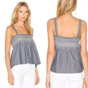 Current Elliott The Smocked Chambray Top Size 3
